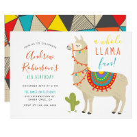 A Whole Llama Fun Animal Birthday Party Invitation