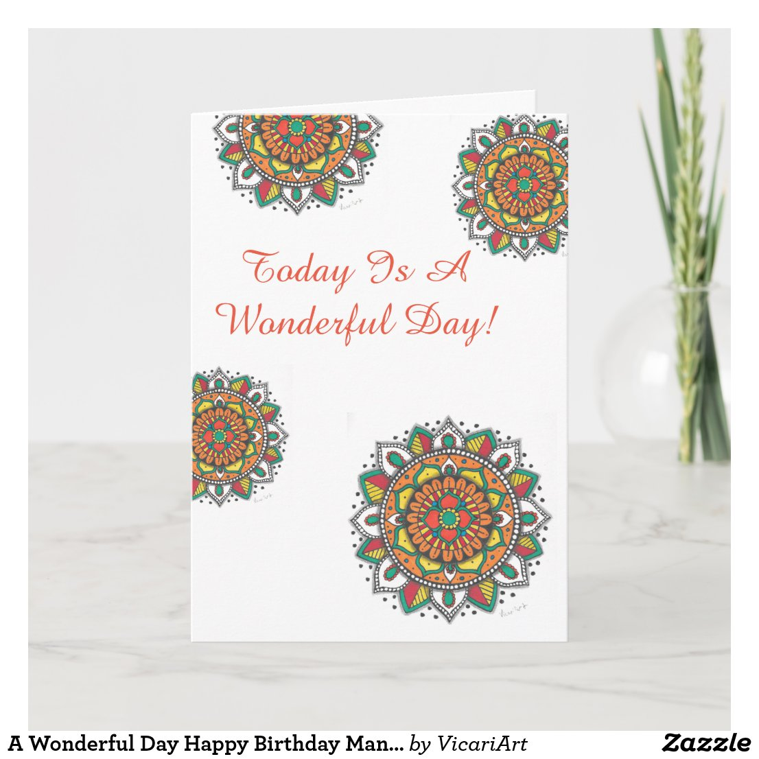 A Wonderful Day Happy Birthday Mandala Card