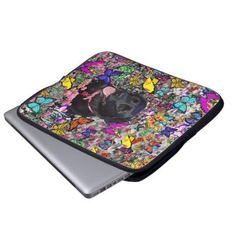 Abby in Butterflies - Black Lab Dog Laptop Sleeve