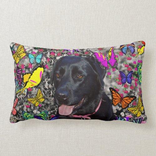 Abby in Butterflies - Black Lab Dog Lumbar Pillow