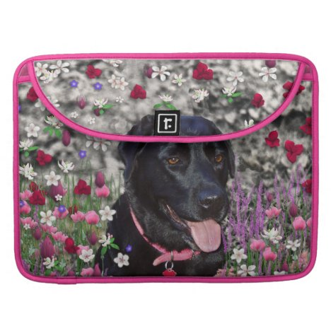 Abby in Flowers – Black Lab Dog Sleeve For MacBook Pro
