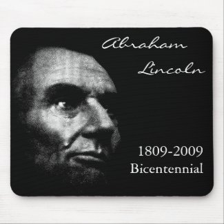 Abe Lincoln - Elegant White on Black mousepad