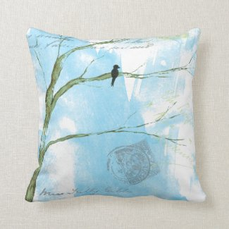 Abstract Art Black Bird Tree Postmarks Text Pillow