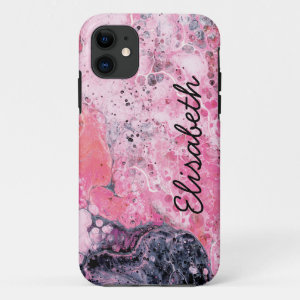 Abstract Art With Acrylic Paint Pour   Pink Black iPhone 11 Case