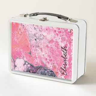Abstract Art With Acrylic Paint Pour | Pink Black Metal Lunch Box