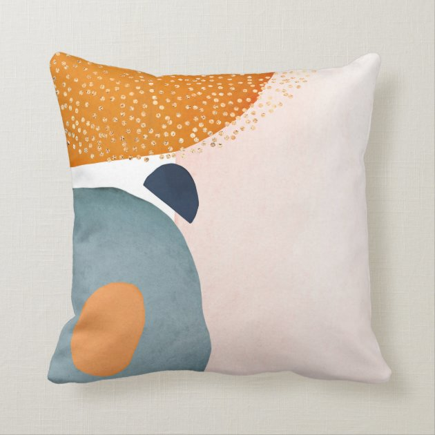 abstract blush pink rust navy blue gold throw pillow zazzle com