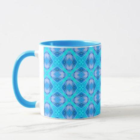 Abstract Circles Arches Lattice Aqua Blue Mug