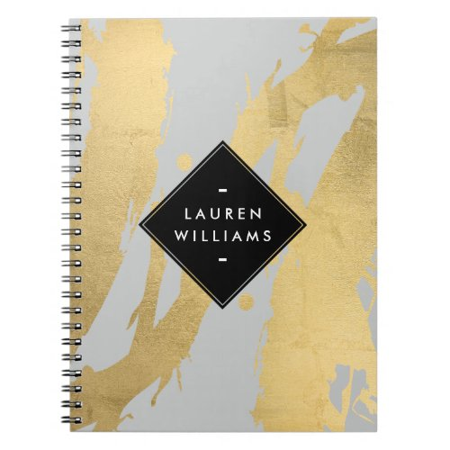 Abstract Faux Gold Foil Brushstrokes on Gray Spiral Notebook