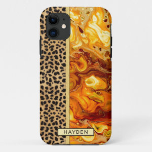 Abstract Fluid Art Pour Personalized Leopard Print iPhone 11 Case