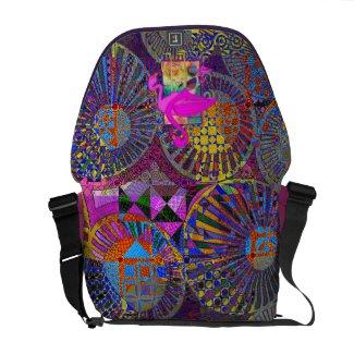 abstract geometric artwork & pink flamingos messenger bag