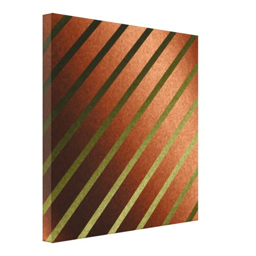 Abstract Lines Faux Orange Yellow Foil Canvas Art