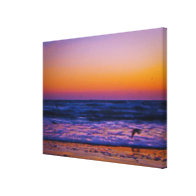 Abstract Morning Dawn at the Atlantic Ocean Art Canvas Print