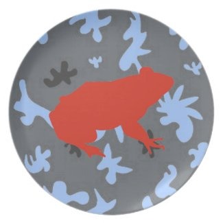 Abstract Pattern and Red Frog Pop Art Plate