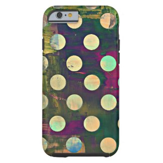 Abstract Rustic Retro Polka Dots Tough iPhone 6 Case