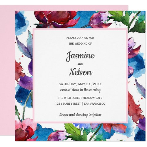 Abstract watercolor  flowers wedding invitation