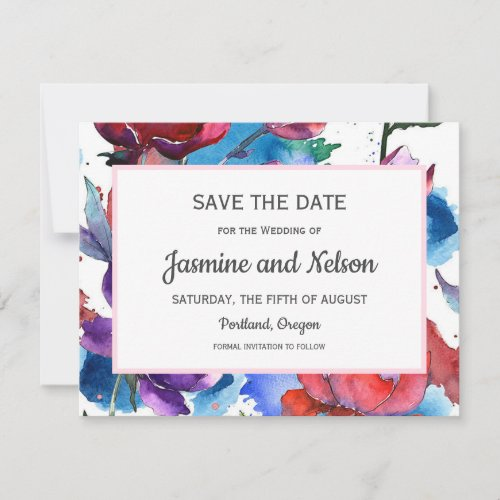 Abstract watercolor Flowers Wedding Save the date RSVP Card