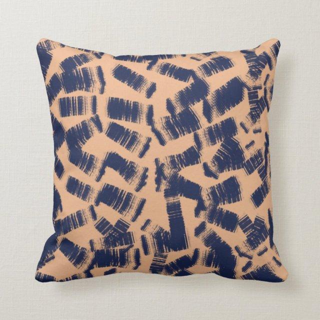 Abstrat blue brush strokes decorative pillow
