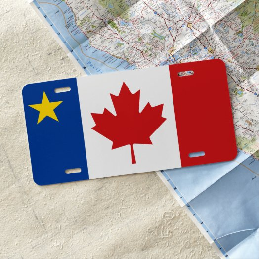Acadian Canadian Flag Mix License Plate