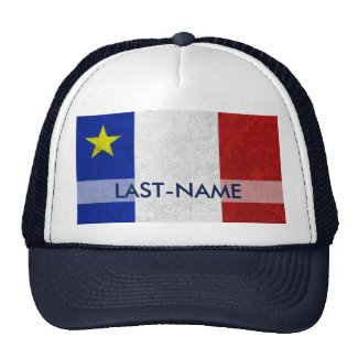 Acadian Flag Surname Distressed Grunge Personalize Trucker Hat