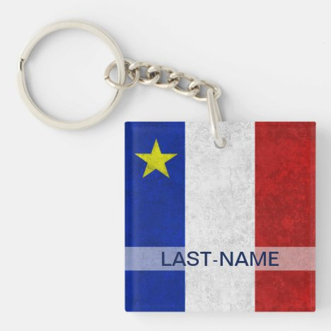 Acadian Flag Surname Distressed Grunge Personalize Keychain