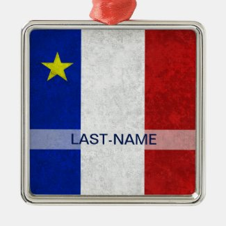 Acadian Flag Surname Distressed Grunge Personalize Christmas Tree Ornament