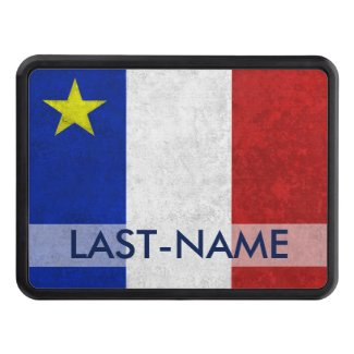 Acadian Flag Surname Distressed Grunge Personalize Tow Hitch Cover