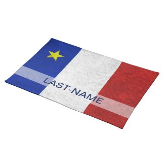 Acadian Flag Surname Distressed Grunge Personalize Place Mats