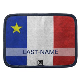 Acadian Flag Surname Distressed Grunge Personalize Folio Planners