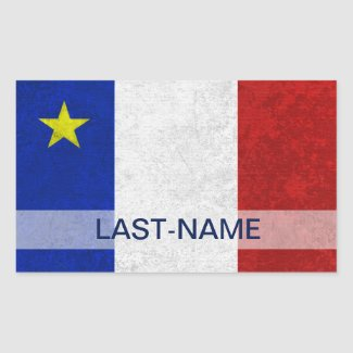 Acadian Flag Surname Distressed Grunge Personalize Rectangle Stickers