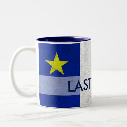 Acadian Flag Surname Distressed Grunge Personalize Two-Tone Coffee Mug