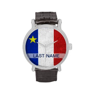 Acadian Flag Surname Distressed Grunge Personalize Watch