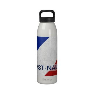 Acadian Flag Surname Distressed Grunge Personalize Reusable Water Bottles
