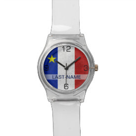 Acadian Flag Surname Distressed Grunge Personalize Wrist Watch