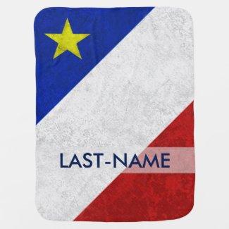 Acadian Flag Surname Distressed Grunge Personalize Swaddle Blanket