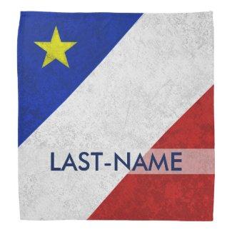 Acadian Flag Surname Distressed Grunge Personalize Bandanas