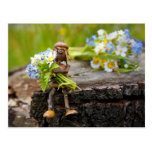 Acorn elf with flowers postcard
