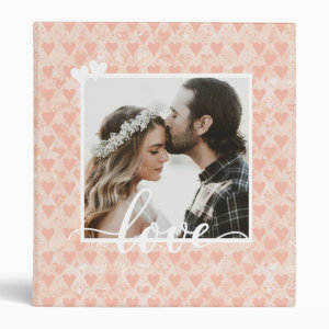 Add Your Own Custom Photo Love Hearts in Rose Gold 3 Ring Binder