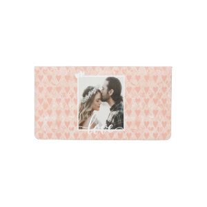 Add Your Own Custom Photo Love Hearts in Rose Gold Checkbook Cover