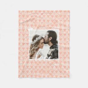 Add Your Own Custom Photo Love Hearts in Rose Gold Fleece Blanket