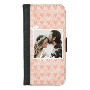 Add Your Own Custom Photo Love Hearts in Rose Gold iPhone 8/7 Wallet Case