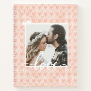 Add Your Own Custom Photo Love Hearts in Rose Gold Notebook