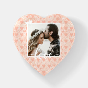 Add Your Own Custom Photo Love Hearts in Rose Gold Paperweight