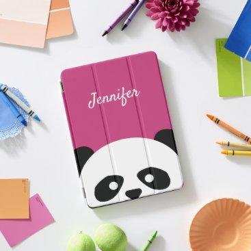 Adorable Kawaii Panda Bear Face Pink Personalized iPad Pro Cover
