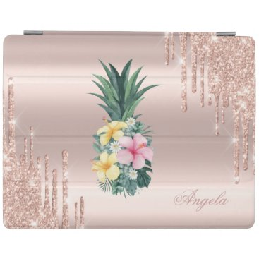 Adorable Pineapple  Floral Rose Gold Glitter Drips iPad Smart Cover