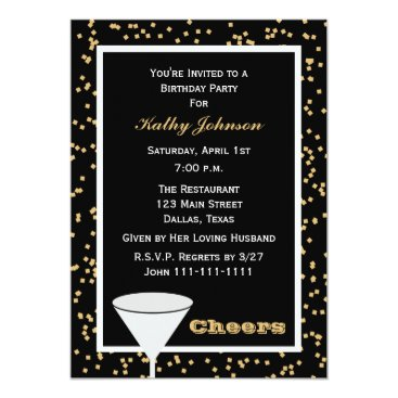 Adult Birthday Party Black and Gold Cheers Card