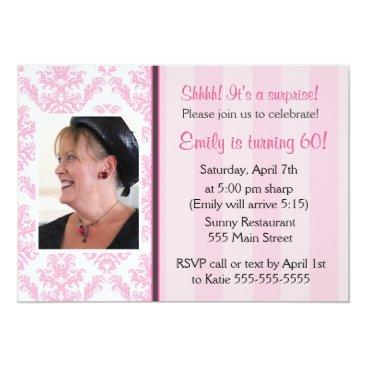 Adult Birthday Party Photo Invitation Pink Damask