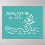Adventure Awaits Blue Nautical Nursery Art Poster