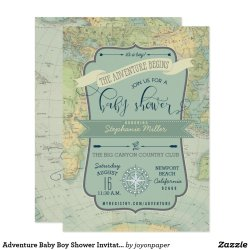 Retro Baby Boy Shower Invitations Invites