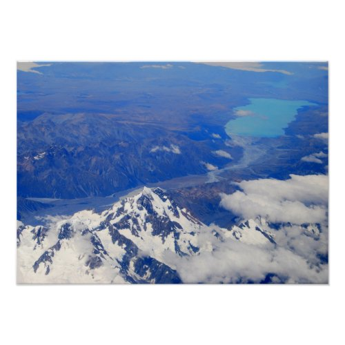 Aerial View of Aoraki/Mount Cook in New Zealand print