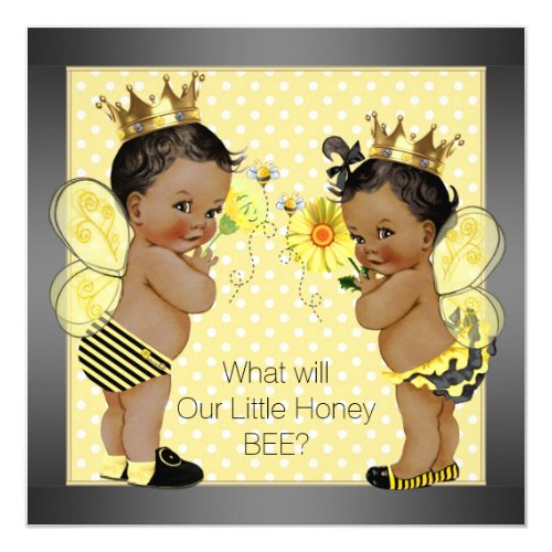 African American Bee Gender Reveal Invitation